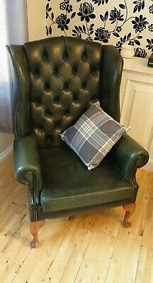 Leather Chesterfield High Wing Back Chair in Green ☆ Local Delivery Option ☆
