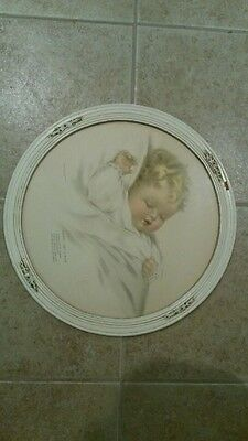 "Bessie Pease Gutmann Print ""Mighty Like a Rose"" Round Frame with glass, poem"