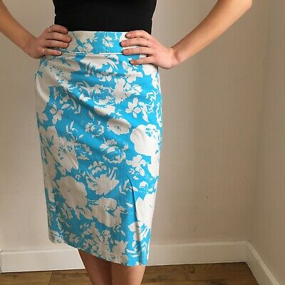 01d189fc50 *Dorothy Perkins* Skirt Size 12 Blue And Cream/White Floral Bodycon Pencil