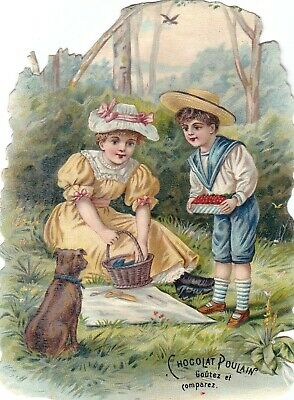 Vintage Victorian Die Cut Trade Card Chocolat Poulain - Children Picnic