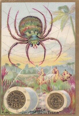 VINTAGE VICTORIAN TRADE CARD MERRICK THREAD Co.- BIG SPIDER & TIGER