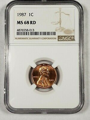 1987-P Lincoln Cent Penny NGC MS68 RD *Only 1 Better* RARE! 1c