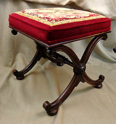 Antique Mahogany Footstool Curule Bench Stool Original Needlepoint Embroidery