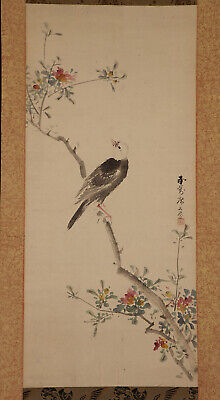 "JAPANESE HANGING SCROLL ART Painting ""Bird and Flower"" Asian antique  #E7375"