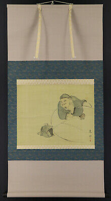 "JAPANESE HANGING SCROLL ART Painting ""Daikoku and Mouse"" Asian antique  #E7364"