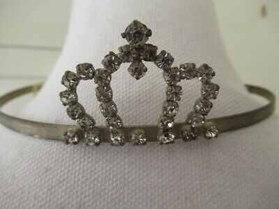 antique vintage French Brocante style 1930's-40's clear rhinestones tiara crown