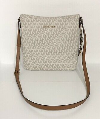0e0086d9bcc2 MICHAEL KORS JET Set Travel Optic White Leather Large Messenger Bag ...