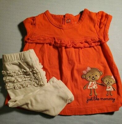 0e3d8c5d5 CARTER'S BABY GIRL orange pattern bow 2 Piece Ruffled Top & Chambray ...