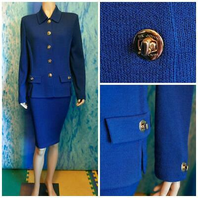 St. John Knits Collection Teal Blue Jacket Skirt L 12 10 2pc Suit Buttons Collar