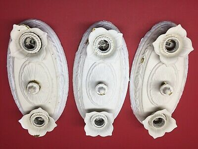 Vintage Art Deco 2-Bulb Victorian Ceiling Light Fixtures Lot Of 3 Tested & Works