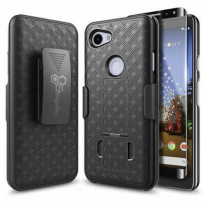 For Google Pixel 3a / 3a XL   Slim Holster Clip Phone Cover Case +Tempered Glass