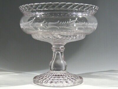 "Antique Central Glass 8"" Compote #794 Rope & Fern Cut Footed Bowl"