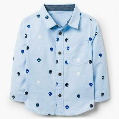 NEW Gymboree Baby Boy's Blue Skulls Button Down Shirt Size 0-3M (C8-40)
