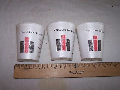 3 Vintage IH International Harvester Lubricants STYROFOAM CUPS