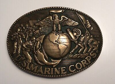 Vtg US Marine Corps Brass Belt Buckle, ADM (Award Design Medals) Military, Eagle