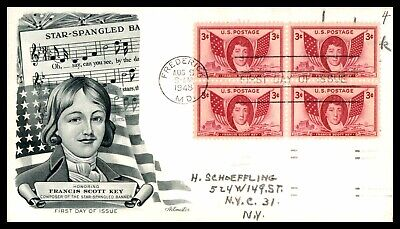 USA 1948 FDC Francis Scott Key 4 Block Composer of the Star Spangled Banner Artm
