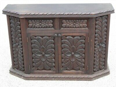 1970s Hand Carved Mexican Walnut Credenza Server Cabinet