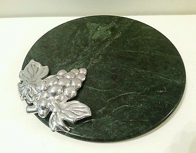 Vintage Marble Cheese Plate Godinger Silver Plated  Grapes