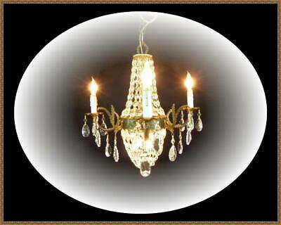 Vintage Brass Bronze French Empire Basket Chandelier Fantastic Crystals Stunning