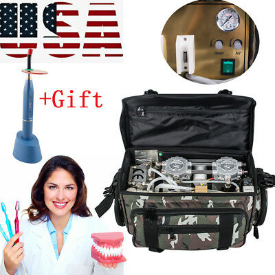 Portable dentistry Dental Unit with Air Compressor Suction System 3 Way+Gift USA