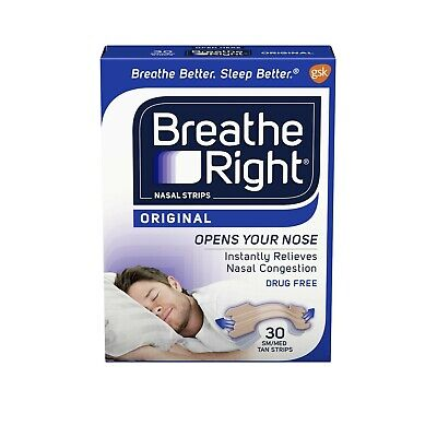 Breathe Right Nasal Strips Original Tan Small/Medium 30 ea (Pack of 2)