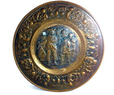 Antique Copper Plate Vintage Hand Carved Home Decoration Old Rare Copper Plate
