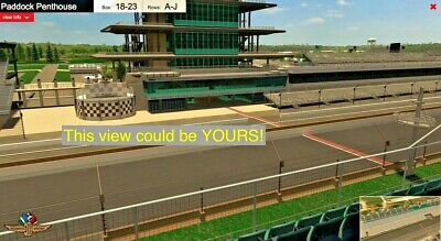 2 Indianapolis 500 Tickets • PADDOCK PENTHOUSE • Box 23 / Row D • Indy IndyCar