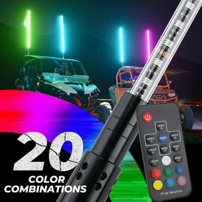 ATV-UTV-RZR-YXZ-Buggy-Off Road 5ft 20 Color 200 Combination LED Lighted Whip-X3