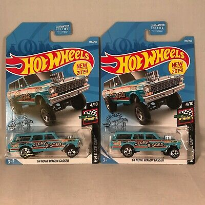 2019 - Hot Wheels NEW '64 Nova Wagon Gasser JERRY RIGGED - Case K - Lot of 2
