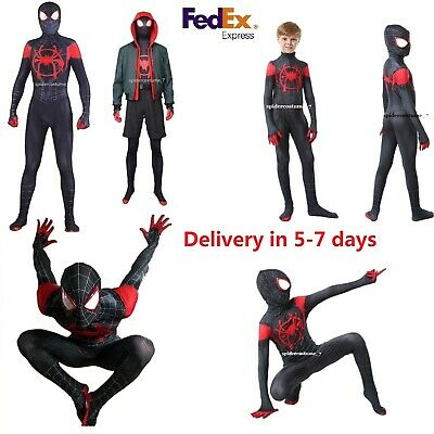 Miles Morales Into Spider Verse Cosplay Costume Spiderman Halloween Tights Suit