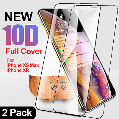 2 X 10D Tempered Glass Screen Film Protector for New iPhone XS Max,XR,XS,X,8,7,6
