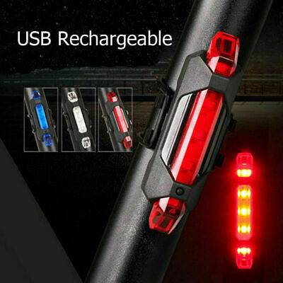LED Rechargeable USB Bike Tail Light Bicycle Safety Cycling Warning Rear Lamp #!