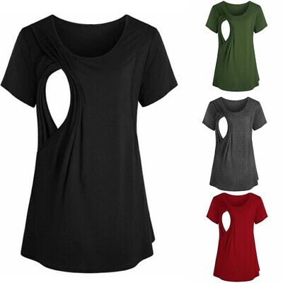 Womens Pregnant Maternity Clothes Breastfeeding Casual T Shirts Nursing Top Vest