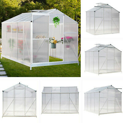 Aluminium Steel Greenhouse Polycarbonate Garden Veg Plant Grow with Sliding Door