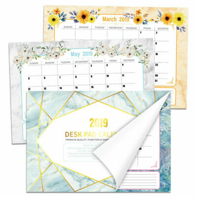 Wall Calendar January 2019-June 2020 Marble Pattern for Each Day & Month Memo