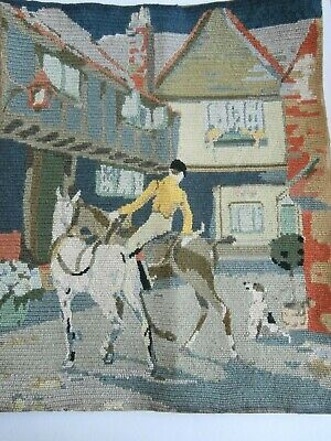 Vintage Horse Jockey Huntsman Hound  Penelope completed tapestry picture antique
