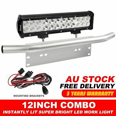 "12 inch CREE Combo LED Light Bar + 23"" Number Plate Frame Mount Bracket Silver"
