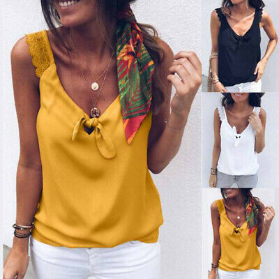 Women Lady Lace Tank Tops Summer Casual Camisole Blouse Sleeveless Vest T-shirt