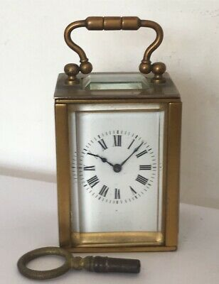 Antique French Miniature Carriage Clock & Key  1900 - Superb