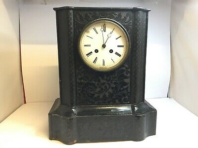 JAPY FRERES BLACK WOOD STRIKING MANTEL CLOCK RETAILED BY OPPENHIEM A Paris 19thC