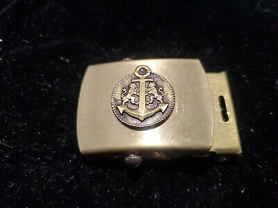 Navy Anchor Belt Buckle Marked Merit Made In Usa Solid Brass