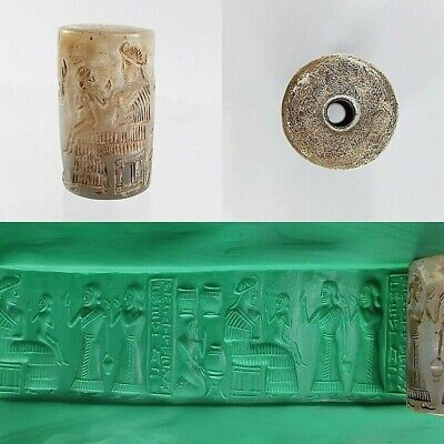Ancient Sassanian White Seal Cylinder all Round Queen Intaglio #A77