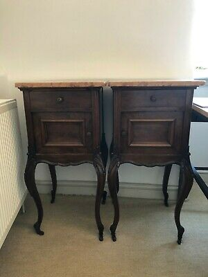 Pair of Antique French Bedside Cabinets. Walnut & Marble Tops. Period,1900