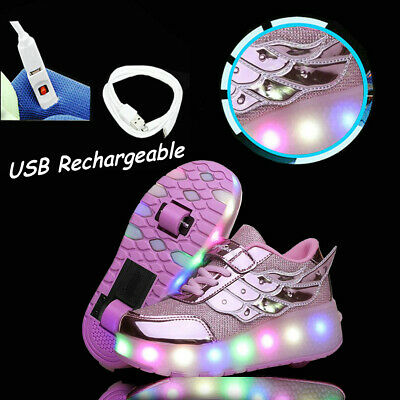 Girls  LED Wheel Shoes Kids Women Pink Led Light UP Roller Skate Sneakers Shoes