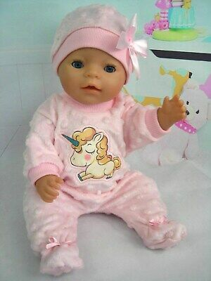 "Dolls clothes for 17"" Baby Born doll~ SOFT PINK BABY UNICORN BOBBLE JUMPSUIT~HAT"