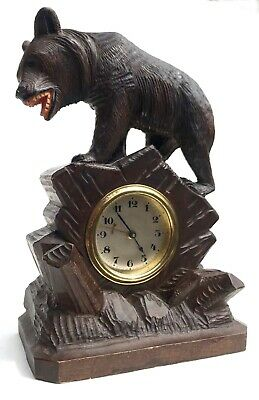 Antique Vintage Carved Bear Black Forest Bracket / Mantel Clock With Alarm