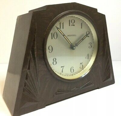 Antique Vintage Ingersoll Art Deco Bakelite Mantel Mantle Alarm Clock, Running