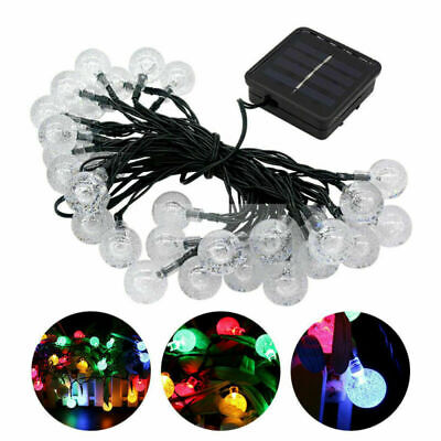 30 LED Powered Solar Garden Party Fairy String Crystal Ball  Lights Outdoor