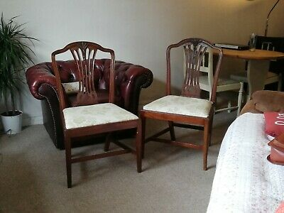 A Pair Of George III Mahogany Hepplewhite Style Dining Chairs