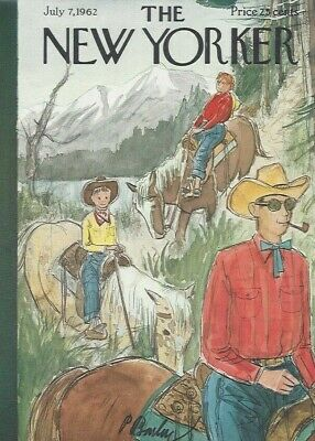 COVER ONLY The New Yorker magazine ~ July 7 1962 ~ BARLOW ~ Horse Trail Ride